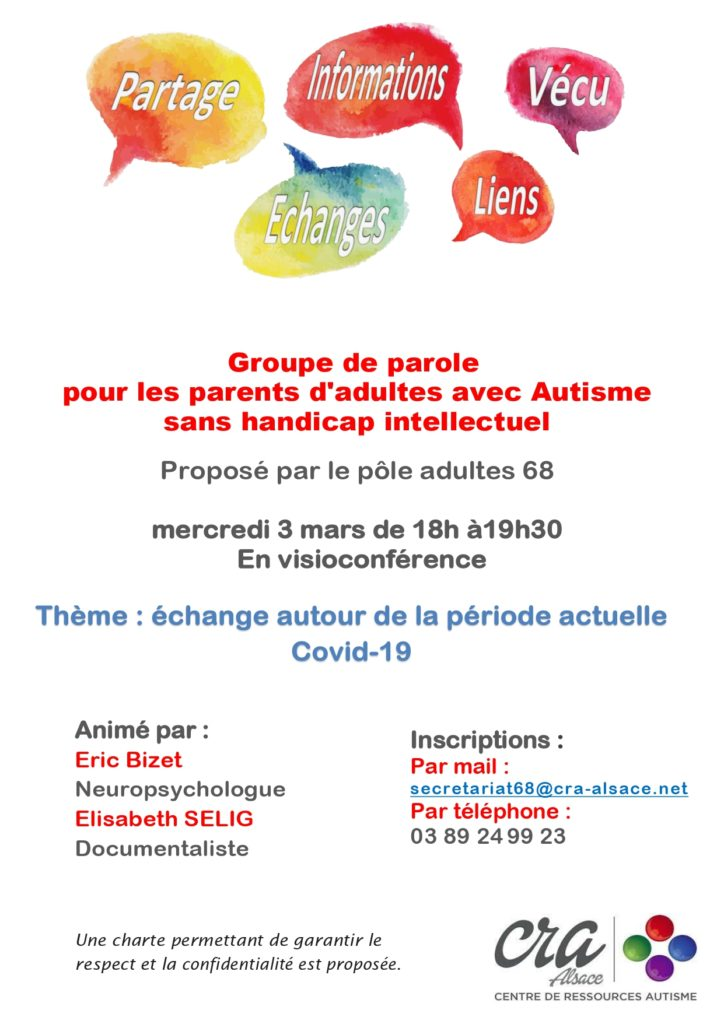 Haut-Rhin : groupe de paroles pour les parents d'adultes autistes sans handicap intellectuel @ en visioconférence | Colmar | Grand Est | France